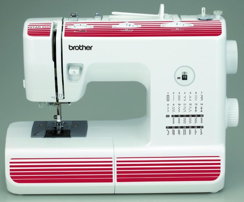 Brother Star 555Brother<br>Швейная машина Brother Star 555. Выполняет 27 операций, имеет горизонтальный челнок, петля - автомат. В комплекте у Brother Star 555 - 5 лапок. Есть нитевдеватель.<br>