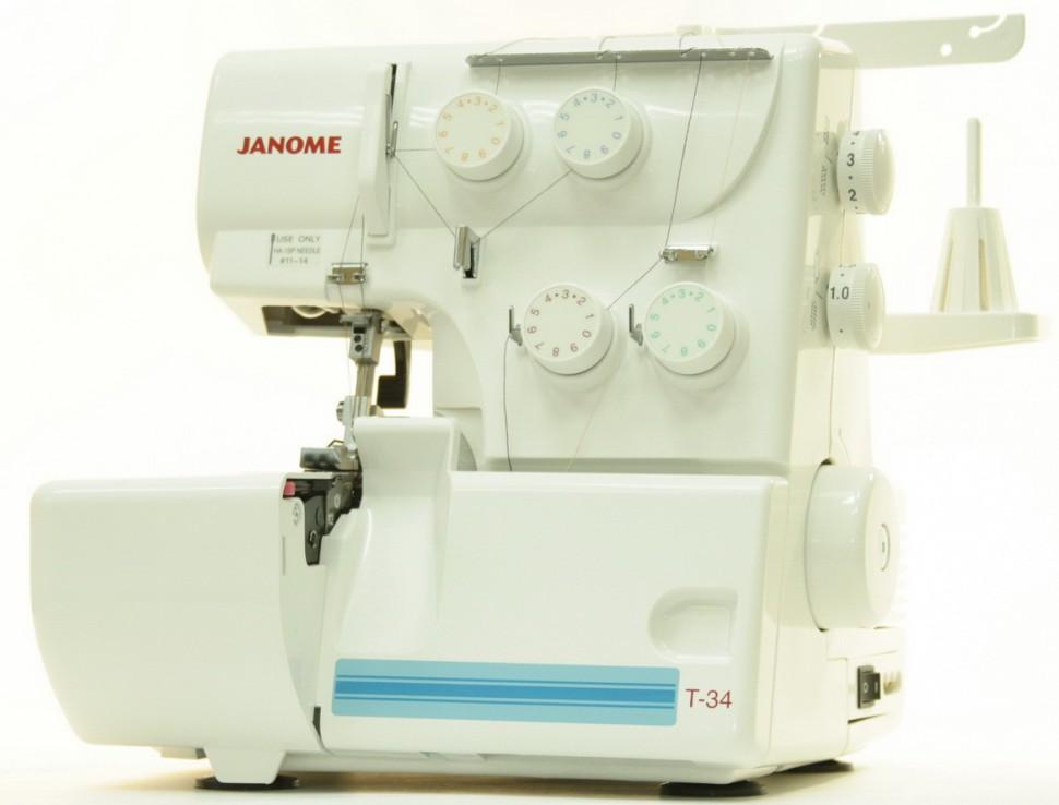 Оверлок Janome T-34DОверлоки Janome<br>Оверлок Janome T 34, с характеристиками:  4-х (3-х) ниточный, выполнет 7 видов швов (7 программ). Дифференциальный транспортер ткани.<br>