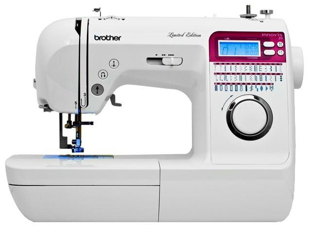 Brother NV 20Brother<br>Швейная машина Brother NV 10 выполняет 40 видов строчек, 5 петель в автоматическом режиме. Имеет нитевдевающее устройство, плавную регулировку скорости.<br>