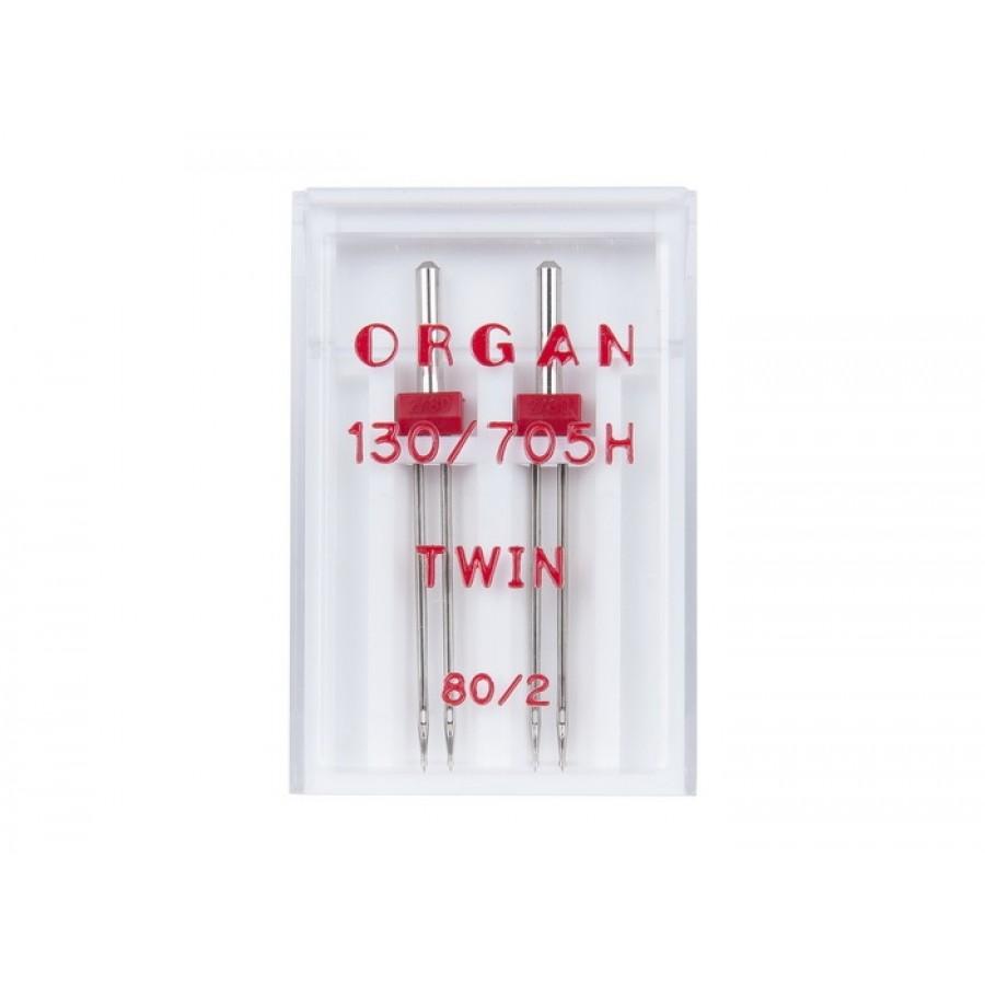 Иглы Organ двойные 80\2 ( 2 шт)Organ<br><br>