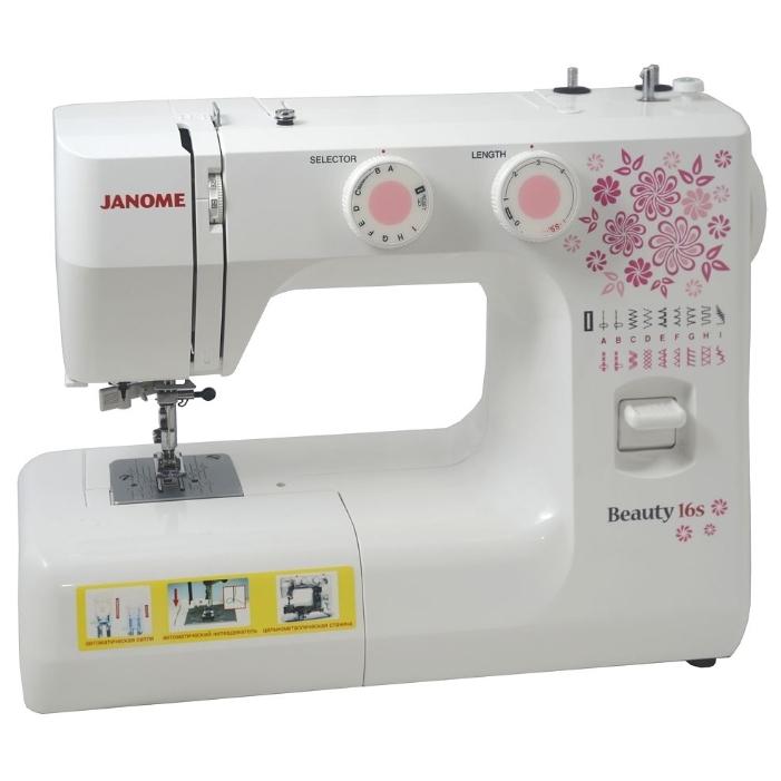 Janome Beauty 16SJanome<br>Швейная машина Janome Beauty 16s имеет вертикальное челночное устройство, выполняет 16 строчек. В комплекте имеет 4 лапки. Петля выметывается в автоматическом режиме.<br>