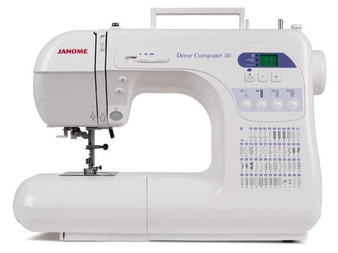 Janome DC 50 (с чехлом)Janome<br>50 видов строчек, нитевдевающее устройство, в комплекте 4 лапки. Челнок - горизонтальный.<br>