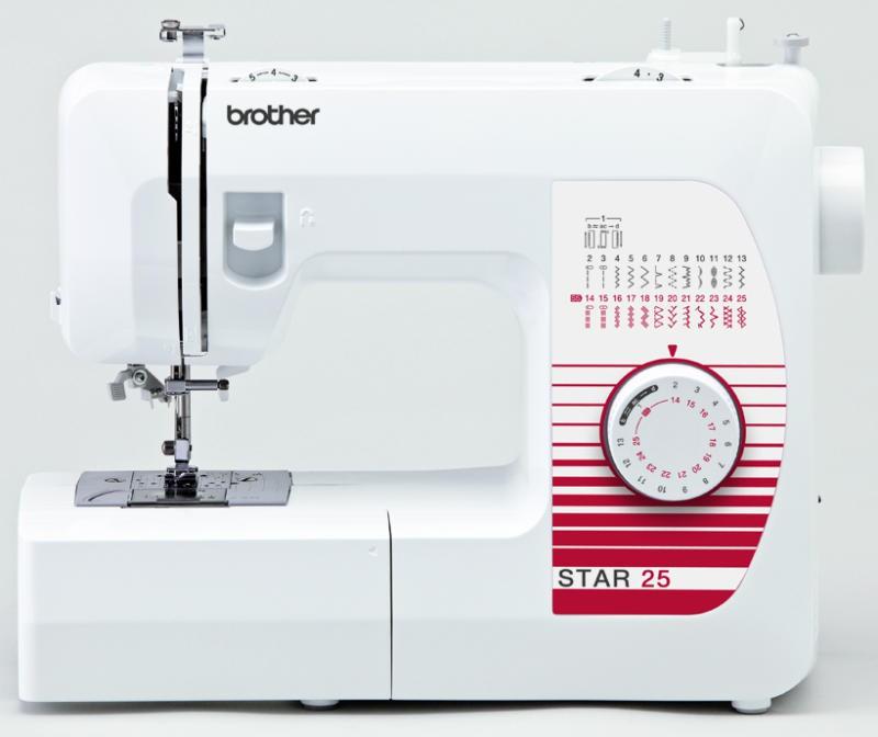 Brother Star 25Brother<br>Швейная машина Brother Star 25. Выполняет 25 операций, имеет горизонтальный челнок, петля - полуавтомат. В комплекте у Brother Star 25 - 4 лапки. Есть нитевдеватель.<br>