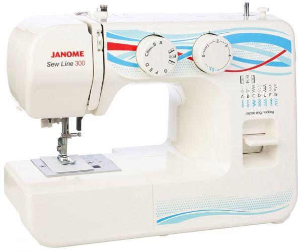 Janome Sew Line 300Janome<br>Швейная машина Janome Sew lIne 300. Горизонтальный челнок, 12 строчек. Петля в полуавтоматическом режиме. 4 лапки в комплекте.<br>