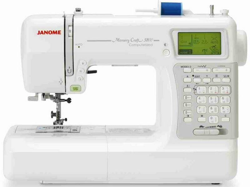Janome MC 5200Janome<br>Janome MC 5200. Горизонтальный челнок, 3 вида алфавита, в том числе и русский,  плавная регулировка скорости, регулятор давления лапки на ткань, переключение режима игольной пластина (прямая/зиг-заг), позиционирование иглы, нитевдеватель, 11 лапок, же...<br>