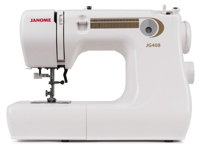 Janome JG 408Janome<br>Janome JG 408.8 видов строчек, нитевдевающее устройство, в комплекте 3 лапки, чехол мягкий. Челнок - горизонтальный.<br>