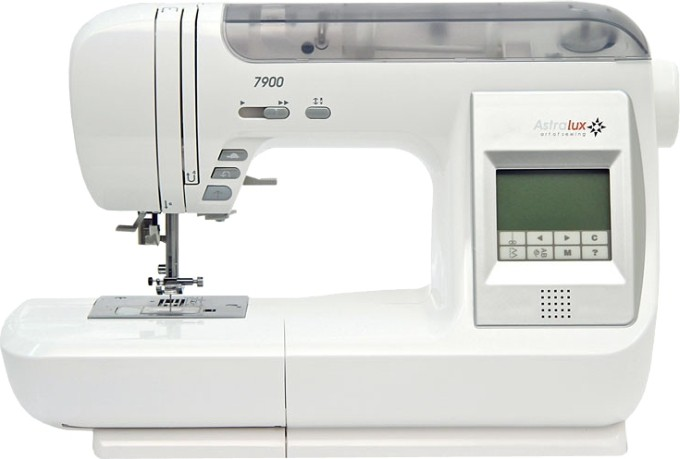 Astralux 7900Astralux<br>Современная швейная машина Astralux 7900 выполняет 539 строчек. Также обладает функцией плавной регулировки скорости, позиционированием иглы, беспедальным шитьем. В машинку встроено 60 ячеек памяти. Машинка выполняет 13 видов петель, имеет несколько а...<br>