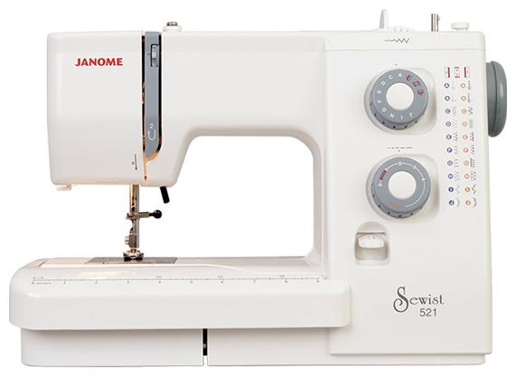 Janome Sewist 521 (SE 518)Janome<br>Швейная машинка Janome Sewist 521 выполняет 18 видов строчек (19 операций), в комплекте 5 лапок, жесткий чехол. Челнок - горизонтальный.<br>