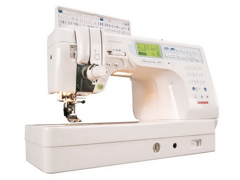 Janome MC 6600Janome<br>Janome MC 6600. Горизонтальный челнок, 152 операции, 8 видов петель, беспедальное шитье, плавная регулировка скорости, позиционирование иглы, встроенный верхний транспортер, железный корпус, большой вылет рукава.<br>