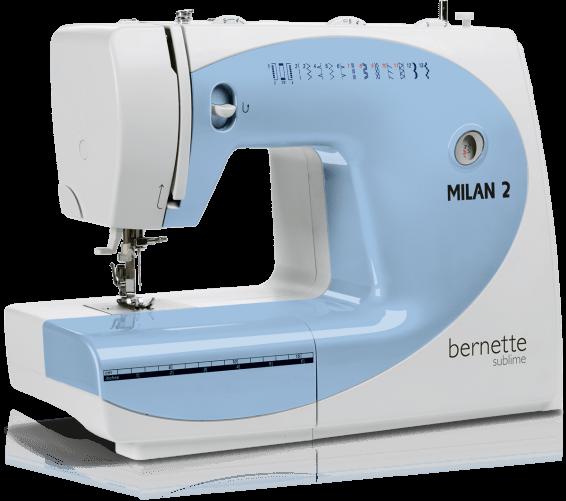 Bernina Milan 2Bernina<br>Швейная машина Bernina Milan 2 имеет вертикальный челнок, выполняет 13 строчек, выметывает петлю в полуавтоматическом режиме. У машины Bernina Mialn 2 есть чехол, а также дисплей отображения строчек.<br>