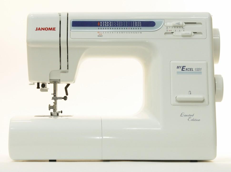 Janome My Excel 1221Janome<br>Швейная машина имеет горизонтальное челночное устройство и выполняет 18 строчек. В комплекте содержит  7 лапок, нитевдевающее устройство, а также жесткий чехол.<br>