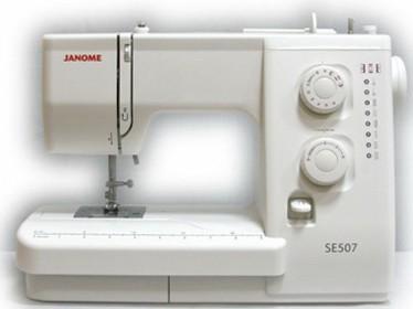 Janome SE 507Janome<br>Машинка имеет 7 видов строчек (8 операций), в комплекте находится 4 лапки. Челнок  - горизонтальный.<br>