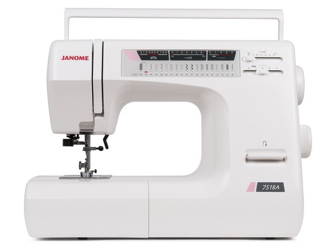Janome 7518AJanome<br>Швейная машина Janome 7518a имеет горизонтальное челночное устройство, выполняет 18 строчек. Имеет в комплекте  7 лапок, нитевдевающее устройство, подсказки.<br>
