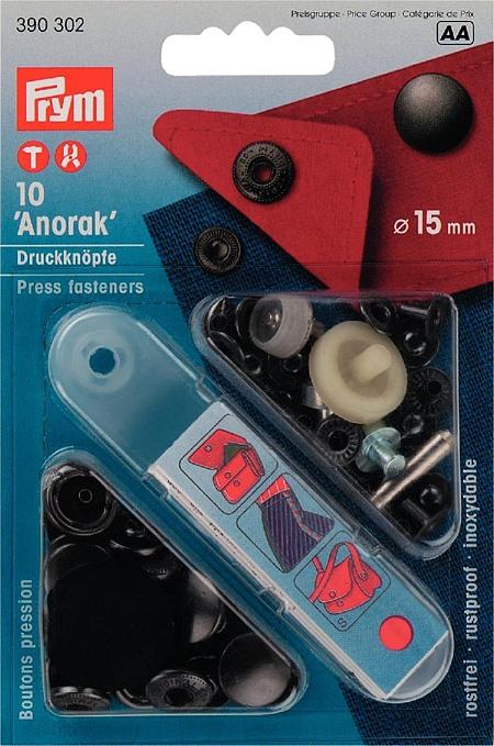 390302 Prym Кнопки Anorak черные 15ммДля одежды<br>390302 Prym Кнопки Anorak черные 15мм<br>