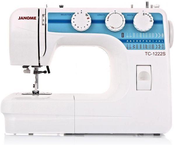 Janome ТC 1222 SJanome<br>Швейная машина Janome TC 1222 имеет вертикальное челночное устройство, выполняет 22 строчки. В комплекте имеет 4 лапки. Петля выметывается в автоматическом режиме.<br>