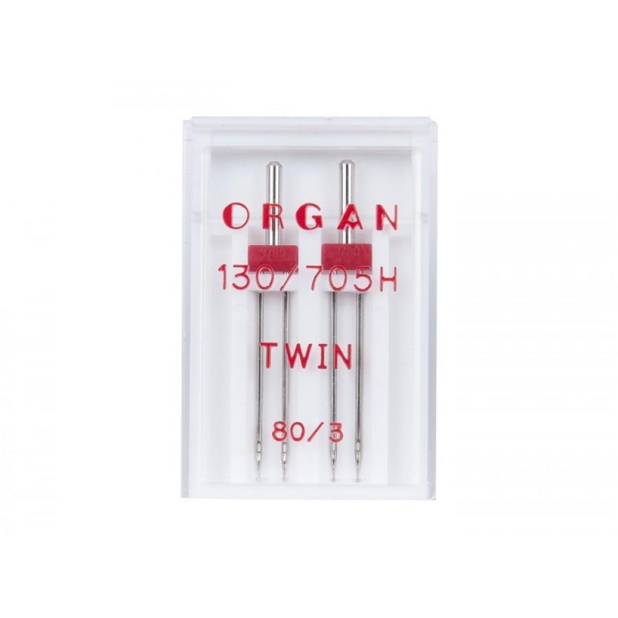 Иглы Organ двойные 80\3 ( 2 шт)Organ<br><br>