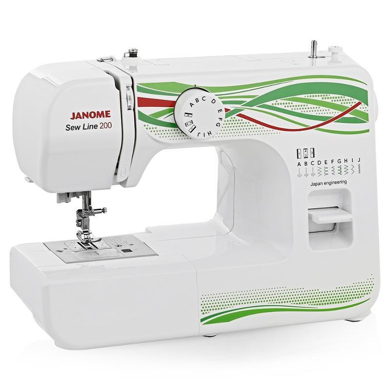 Janome Sew Line 200Janome<br>Швейная машина Janome Sew lIne 200. Горизонтальный челнок, 8 строчек. Петля в полуавтоматическом режиме. 4 лапки в комплекте.<br>