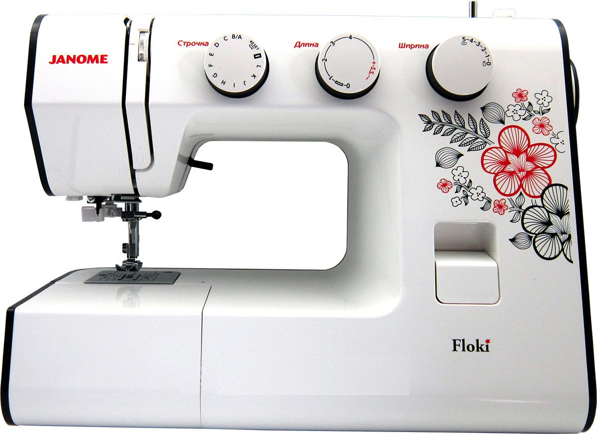 Janome FlokiJanome<br>Швейная машина Janome Floki. 22 строчки, петля-автомат.<br>