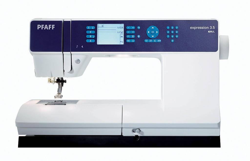 PFAFF expression 3.5PFAFF<br>Швейная машина PFAFF Expression 3.5 - это современная швейная машина премиум класса. Основные особенности PFAFF Expression 3.5: современный горизонтальный челнок, 204 различных строчки, 9 видов петель автомат, ЖК дисплей, нитевдевающее устройство, позицио...<br>