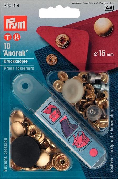 390314 Prym Кнопки Anorak золотистые 15ммДля одежды<br><br>