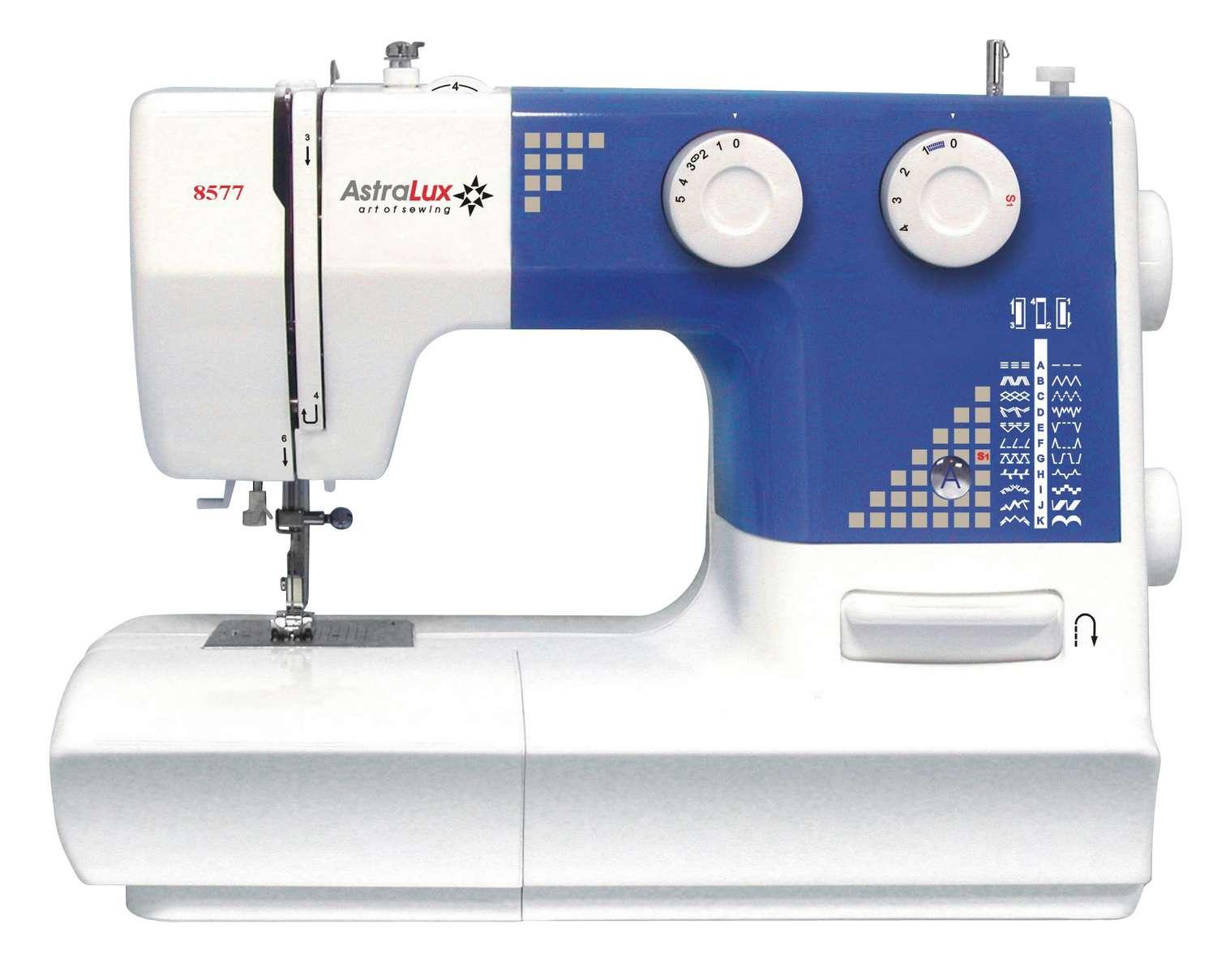 Astralux 8577Astralux<br>Швейная машина Astralux 8577. Вертикальный челнок. 23 строчки. Петля-полуавтомат. Нитевдеватель.<br>