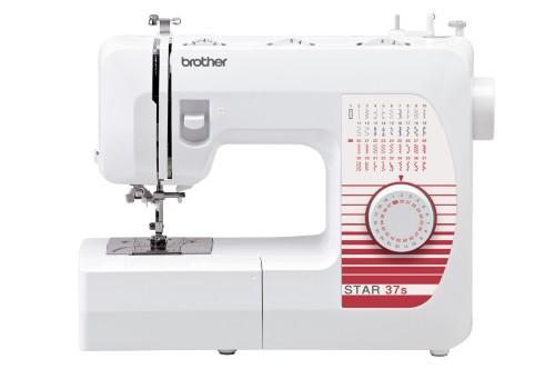 Brother Star 37sBrother<br>Швейная машина Brother Star 37. Выполняет 37 операций, имеет горизонтальный челнок, петля - автомат. В комплекте у Brother Star 37 - 4 лапки. Есть нитевдеватель.<br>
