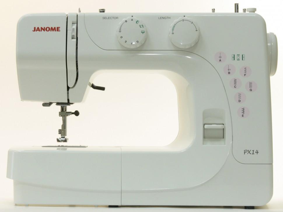 Janome PX 14Janome<br>6 видов строчек (7 операций), в комплекте 4 лапки, чехол мягкий. Челнок - вертикальный.<br>