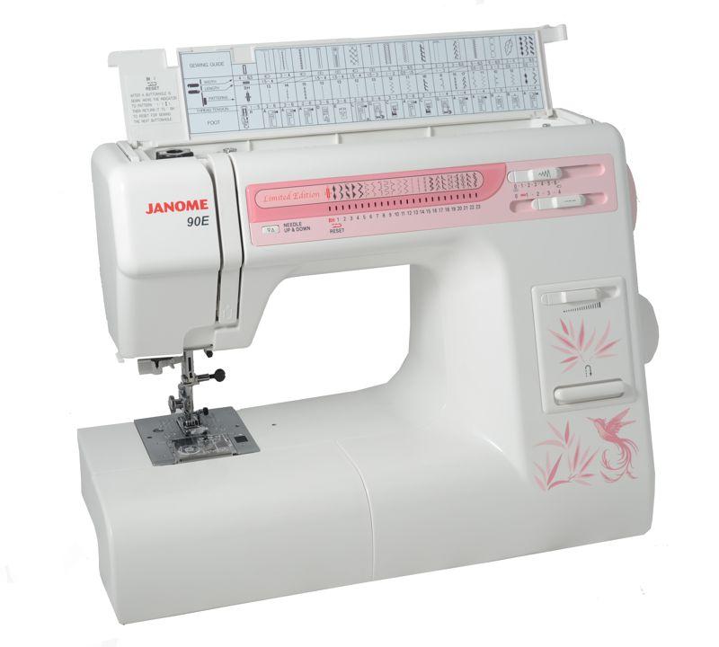 Janome 90 EJanome<br>Швейная машина Janome 90e - швейная машина с горизонтальным челноком, отличной мощностью (85 Вт), набором из 7-и лапок. У модели Janome 90e 24 строчки, петля в автоматическом режиме. В комплекте - жесткий чехол. У этой машины есть такие полезные функции, ...<br>