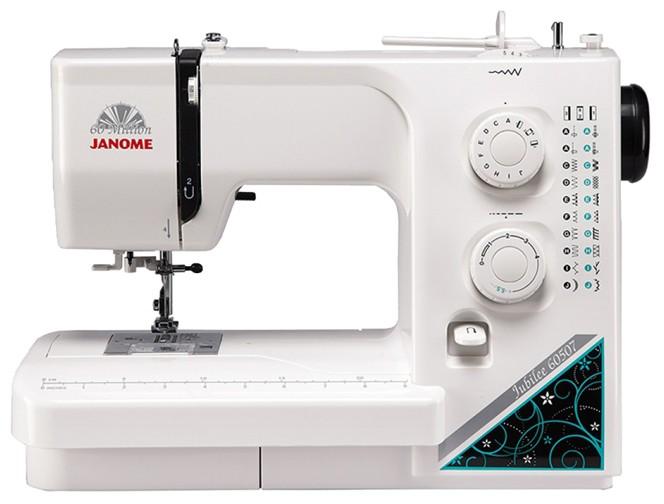 Janome Jubilee 60507Janome<br>Швейная машина Janome Jubilee 60507 - новая серия от Janome. Данная модель имеет горизонтальное челночное устройство, выполняет 18 строчек, прекрасно справляется с плотными тканями.<br>