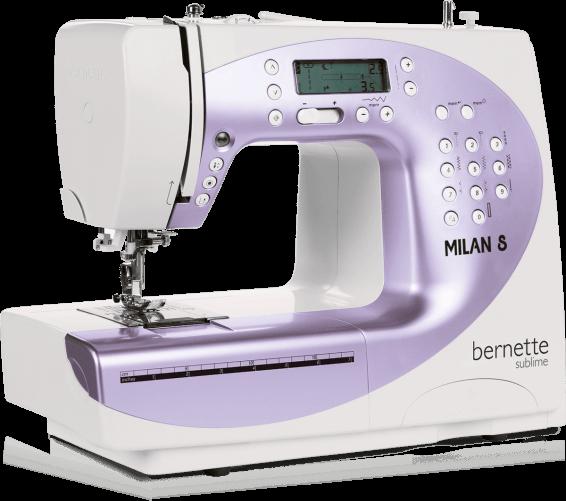 Bernina Milan 8Bernina<br>Швейная машина Bernina Moscow 8 - электронная машина с горизонтальным челноком, которая выполняет 150 строчек, выметывает 10 петель в автоматическом режиме. У машины Bernina Bernette Moscow 8 есть нитевдевающее устройство, а также дисплей отображения стро...<br>