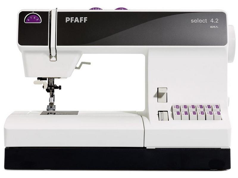 PFAFF select 4.2PFAFF<br>Швейная машина PFAFF Select 4.2. У данной модели вертикальный ротационный челнок. Select 4.2 выметывает петлю в полуавтоматическом режиме, вымолняет 40 строчек. Одна из ключевых особенностей -  встроенный верхний транспортер, длина стежка до 6 мм, ширина ...<br>