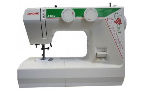 Janome 418 SJanome<br>Швейная машина Janome 418s имеет вертикальное челночное устройство, выполняет 18 строчек. В комплекте имеет 3 лапки. Петля выметывается в автоматическом режиме.<br>