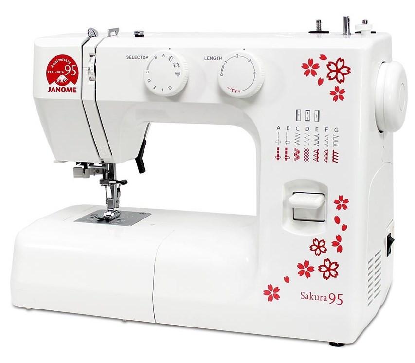 Janome Sakura 95Janome<br>Швейная машина Janome Sakura 95 - 12 видов строчек (19 операций), в комплекте 4 лапки. Челнок - вертикальный. Мягкий чехол в комплекте.<br>