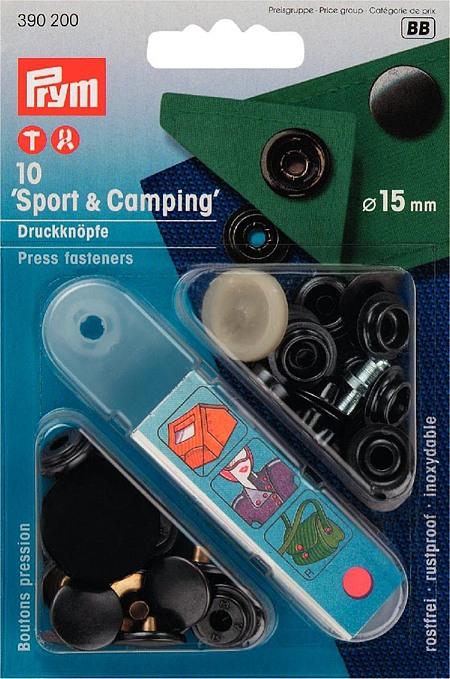 390200 Prym Кнопки Sport+Camping черные 15ммДля одежды<br>390200 Prym Кнопки Sport+Camping черные 15мм<br>