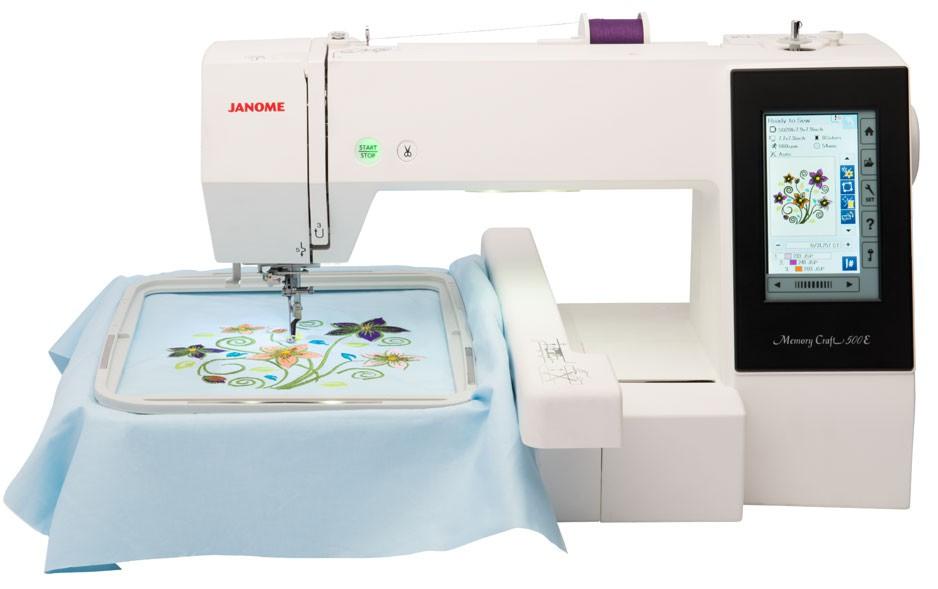 Janome MC 500EJanome<br>Janome Memory Craft 500e способна вышивать дизайны размером до 280х200 мм! При этом машина имеет вполне доступную цену для швейной техники такого класса. Прежде такой размер вышивки можно было получить только при покупке достаточно дорогих швейно-вышив...<br>