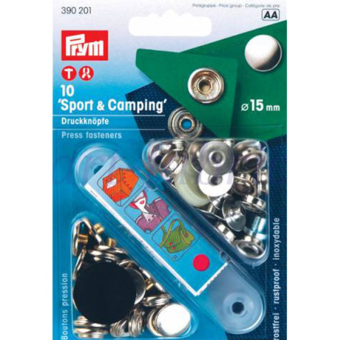 390201 Prym Кнопки Sport+Camping серебристые 15ммДля одежды<br>390201 Prym Кнопки Sport+Camping серебристые 15мм<br>