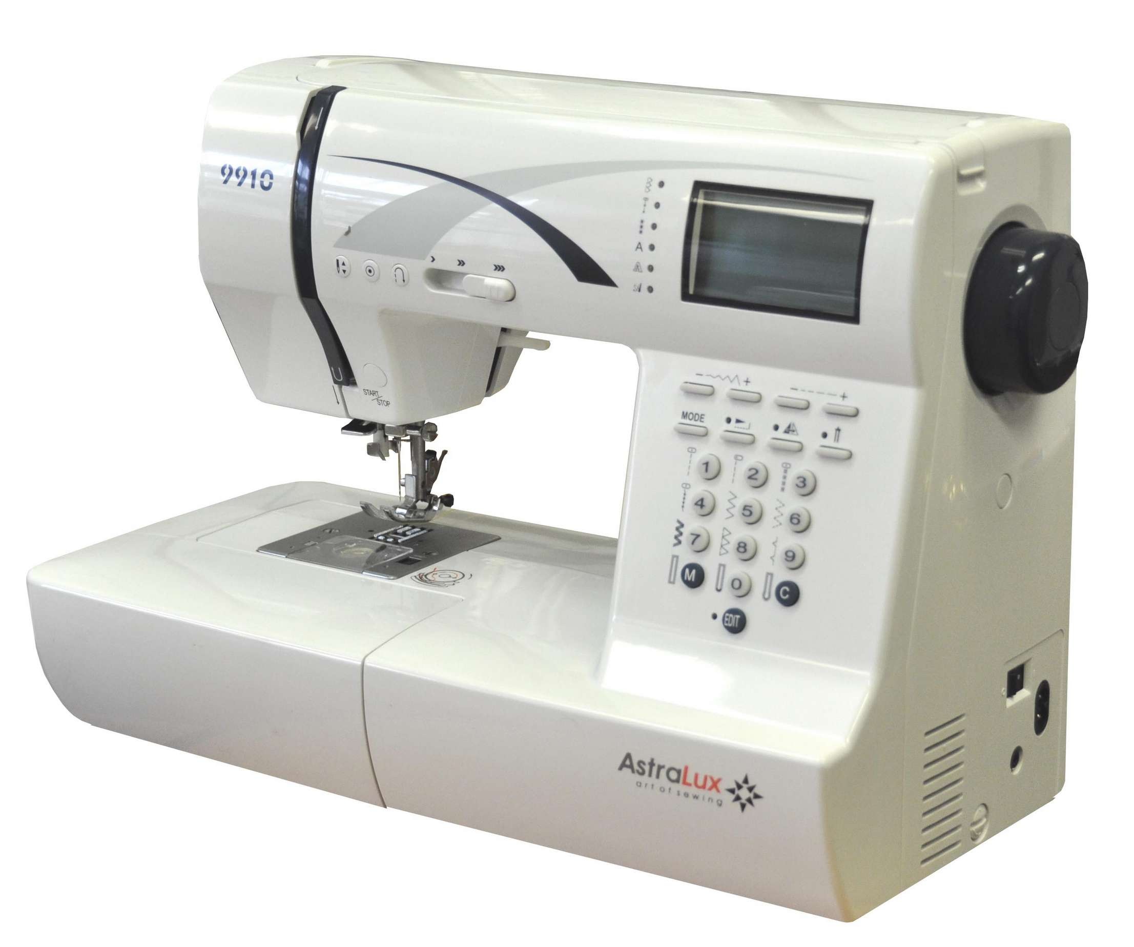 Astralux 9910Astralux<br>Швейная машина Astralux 9910. 500 Операций. Несколько видов алфавитов. Горизонтальный челнок. В комплекте - 11 лапок.<br>