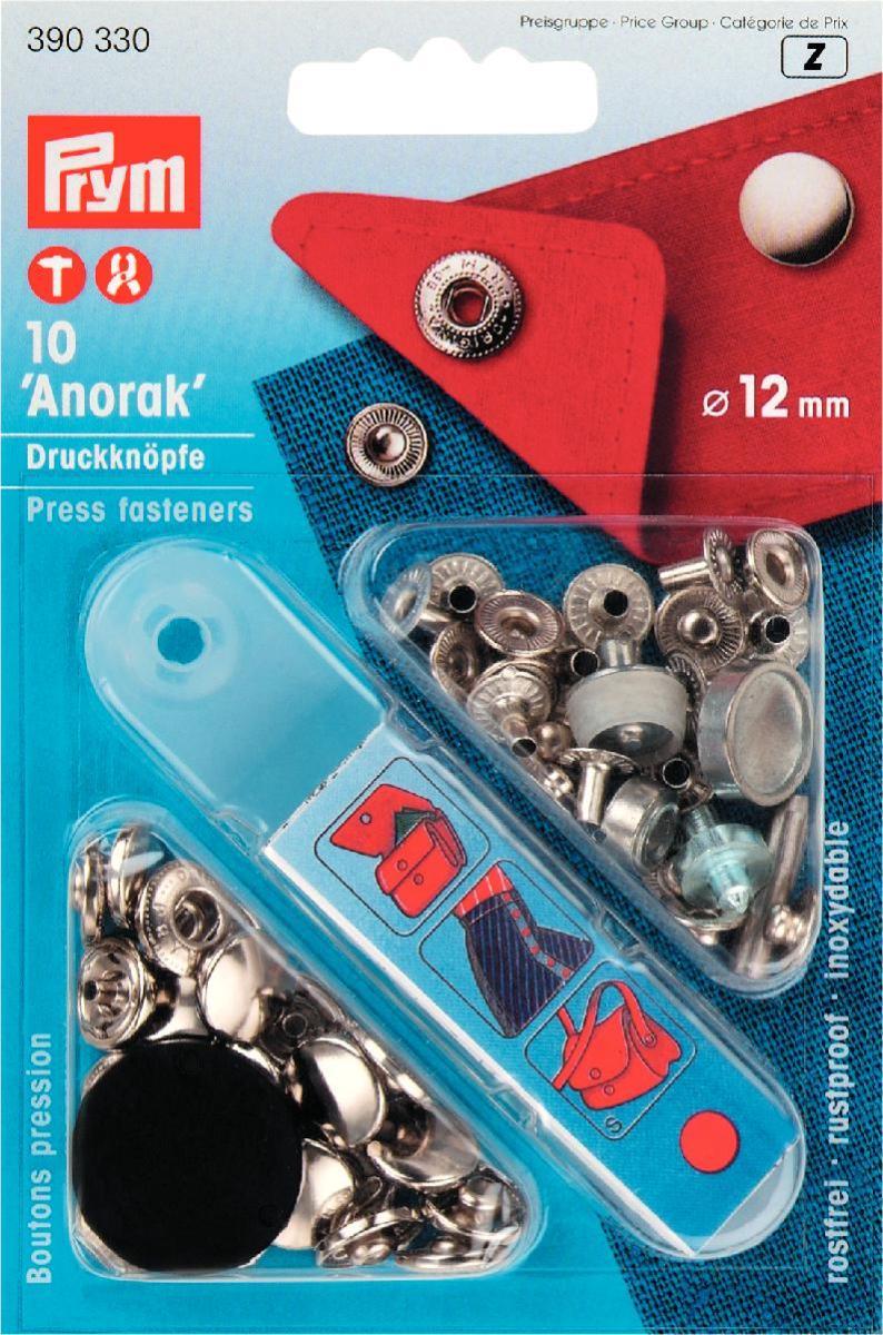 390330 Prym Кнопки Anorak серебристые 12ммДля одежды<br>390330 Prym Кнопки Anorak серебристые 12мм<br>