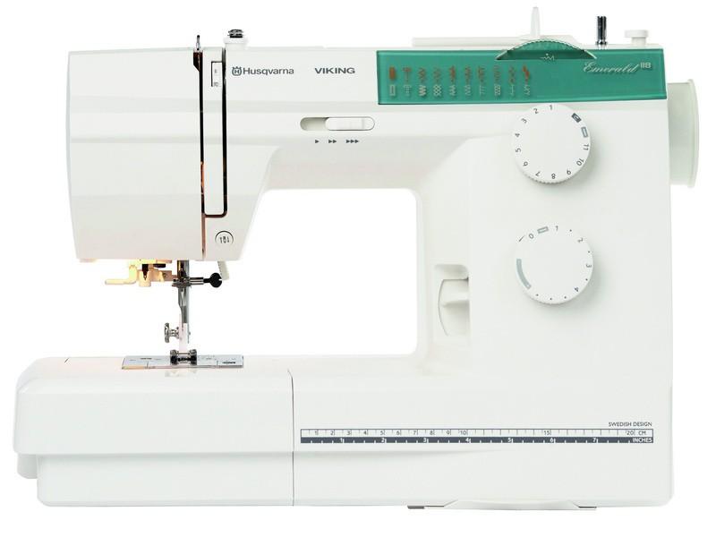Husqvarna EMERALD 118Husqvarna<br>Швейная машина Husqvarna Emerald 118 от Husqvarna Viking. Современный горизонтальный челнок, петля выметывается в автоматическом режиме, 18 видов строчек (в том числе оверлочные, декоративные), нитевдеватель, позиционирование иглы, плавная регулировка ско...<br>