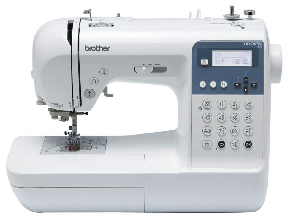 Brother NV 50Brother<br>Швейная машина Brother NV 50 выполняет 135 видов строчек, 10 петель в автоматическом режиме. Имеет нитевдевающее устройство, плавную регулировку скорости, беспедальное шитье.<br>