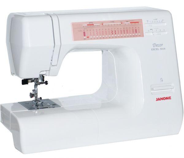 Janome DE 5018Janome<br>Швейная машина Janome Decor Excel 5018 имеет горизонтальное челночное устройство, выполняет 18 строчек. Имеет в комплекте  7 лапок, нитевдевающее устройство<br>