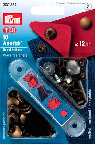 390334 Prym Кнопки Anorak цвета состаренной латуни 12ммДля одежды<br><br>