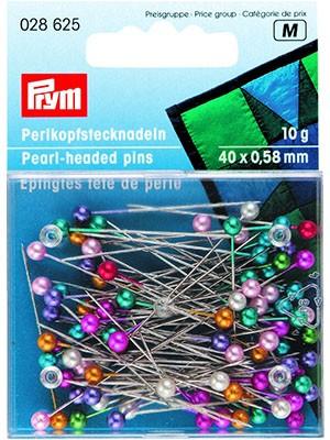 028625 Prym Булавки с разноцветными жемчужными головками 38*0,65мм, 10 г (банка на блистере)