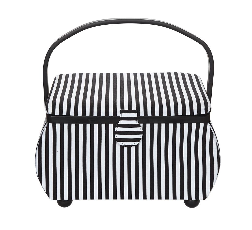 612015 Prym Шкатулка для рукоделия, чёрно-белая полоска, 32*20.5*20 фото