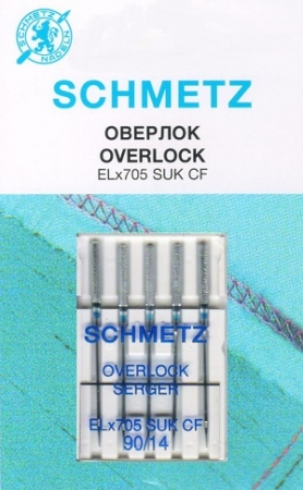 Иглы SCHMETZ для оверлоков SUK (хромированные) №90 (5шт.)Schmetz<br><br>