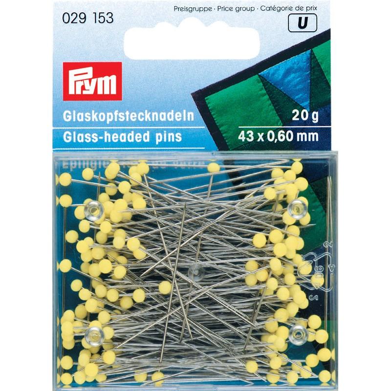 029153 Prym Булавки с желтыми стеклянными головками 43*0,6мм, 20г (банка на блистере)