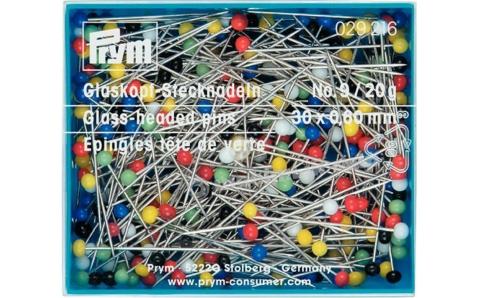 029216 Prym Булавки с разноцветными стеклянными головками 30*0,6мм, 20г (банка)