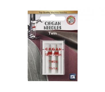 Иглы Organ двойные 70\1,6 ( 2 шт) фото