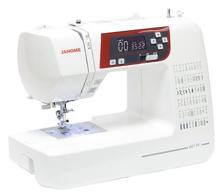 Janome 603 DCJanome<br>Janome 603 - электронная швейная машина, выполняющая 60 строчек. 7 видов петель в автоматическом режиме. Имеет плавную регулировку скорости, беспедальное шитье. Комплектация включает 6 видов лапок.<br>