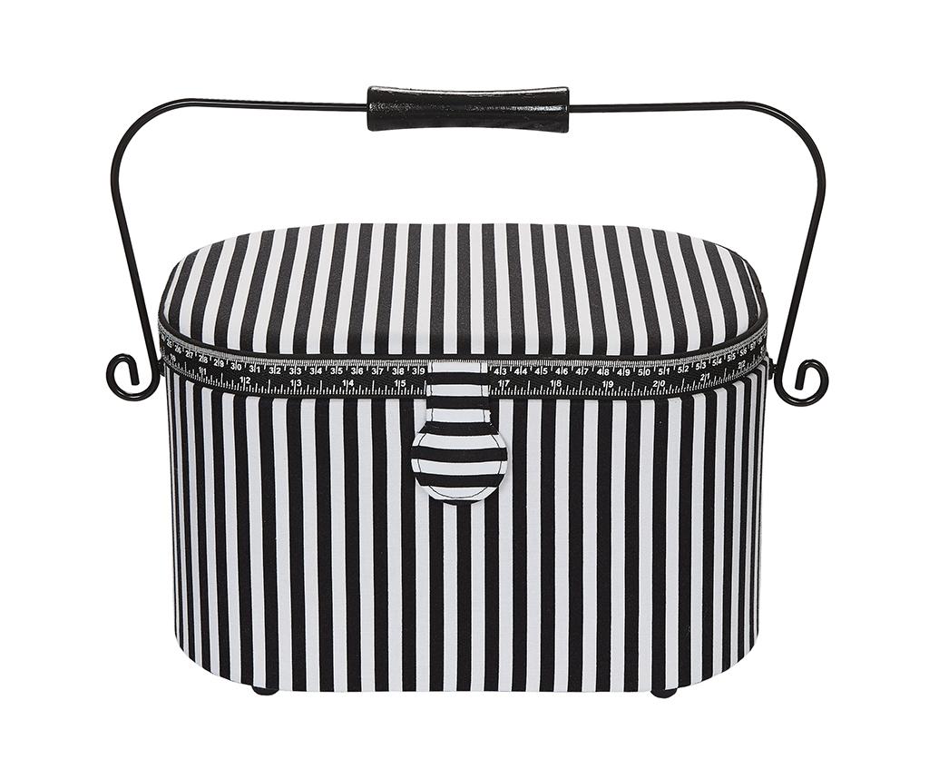 612016 Prym Шкатулка для рукоделия, чёрно-белая полоска, овальная, 30*20.5*19 фото